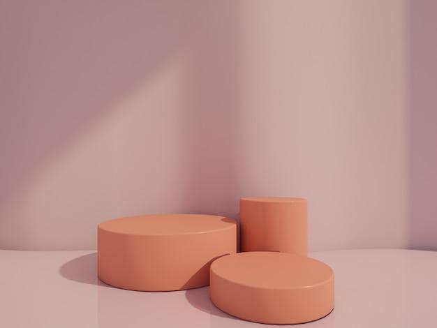 Kosmetisch flessenpodium op het roze 3d teruggeven.