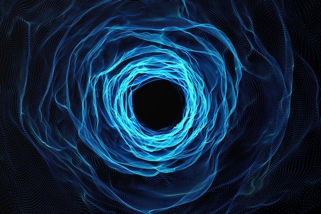 Kosmisch wormgat, ruimtevaartconcept, trechtervormige tunnel die het ene universum met het andere kan verbinden. 3d-weergave