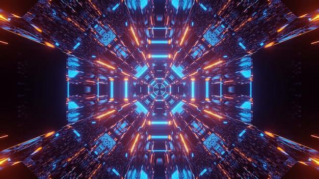 Kosmische achtergrond met blauwe en oranje laserlichten