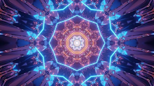 Kosmische achtergrond met blauwe en oranje laserlichtpatronen - perfect voor een digitaal behang