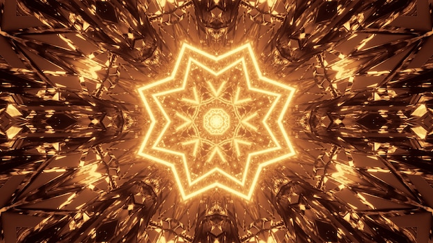 Kosmische achtergrond met bruine en gele laserlichtpatronen - perfect voor een digitaal behang