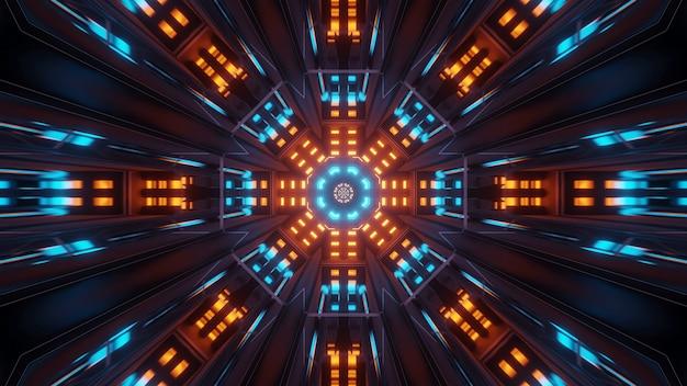 Kosmische achtergrond met kleurrijke blauwe en oranje laserlichten - perfect voor een digitaal behang