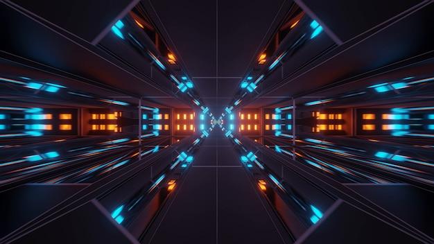 Kosmische achtergrond met kleurrijke oranje en blauwe laserlichten - perfect voor een digitaal behang