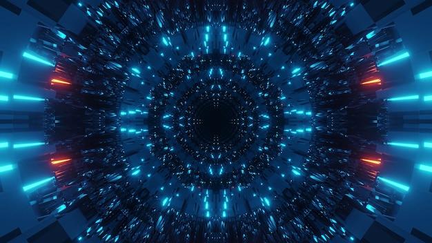 Kosmische achtergrond met kleurrijke rode en blauwe laserlichten - perfect voor een digitaal behang