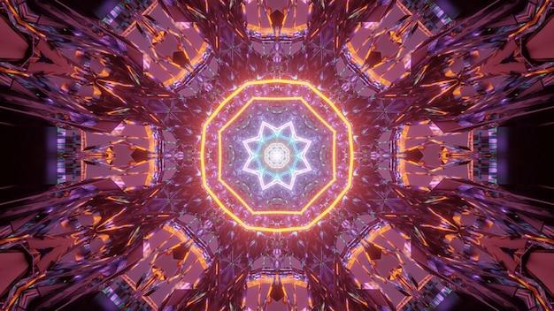 Kosmische achtergrond met oranje en blauwe laserlichtpatronen - perfect voor een digitaal behang