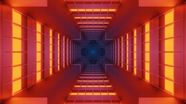 Kosmische achtergrond met oranje, rode en blauwe laserlichten - perfect voor een digitaal behang