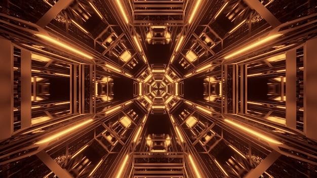 Kosmische achtergrond met zwarte en gouden laserlichten