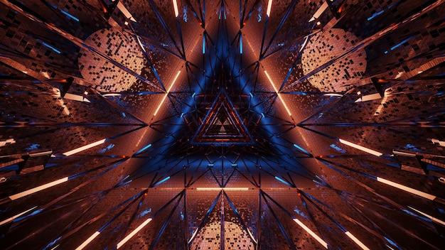 Kosmische achtergrond van oranje en blauwe laserlichten - perfect voor een digitaal behang