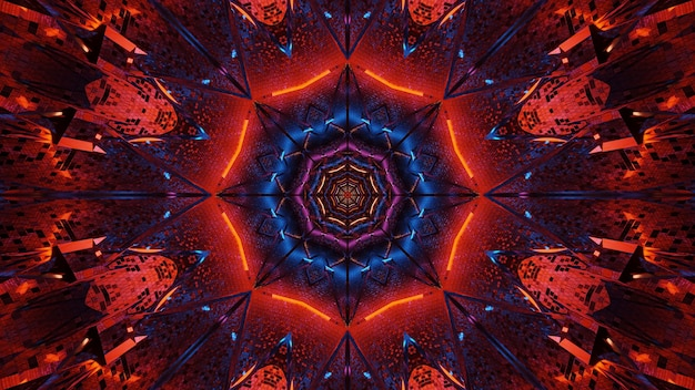 Kosmische achtergrond van zwart-blauwe en rode laserlichten
