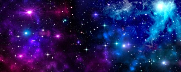 Kosmische ruimte, universum, nevel, sterren, stercluster, blauw, paars