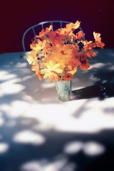 Kosmosbloemen in tuin. zachte focus en afgezwakt kleur.