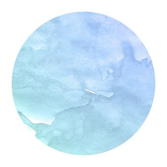 Koud blauw hand getekend aquarel in circulaire frame