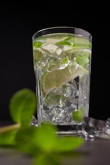 Koud en verfrissend doordrenkt detoxwater met limoen, ijs en munt