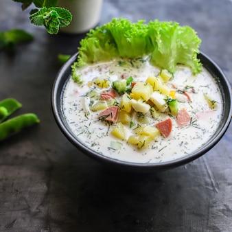 Koude soepgroenten maakt okroshka voedsel groen