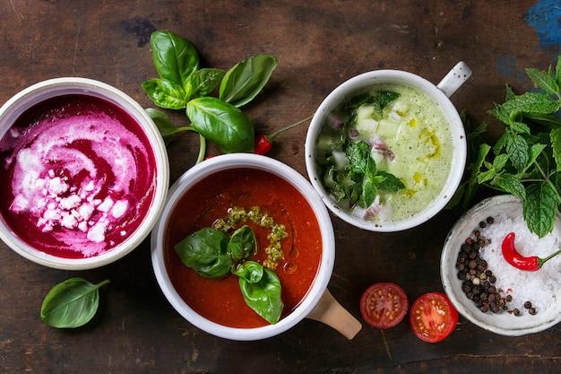 Koude vegetarische soepen