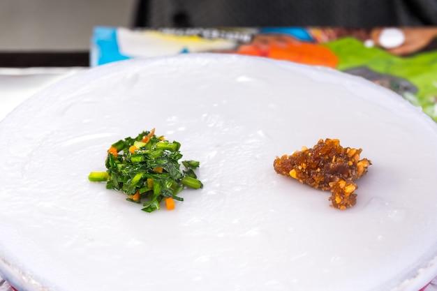Kow griep pag mor, thai steamed rice-skin dumplings
