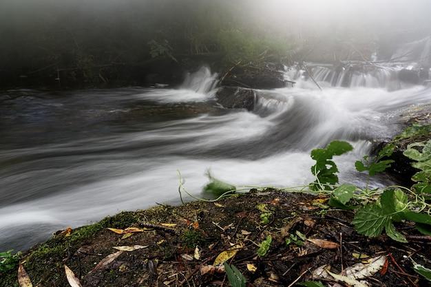 Krachtige berg rivierstroom door bos. bevroren beweging van stroomversnellingen van de bergrivier. macht majestueuze natuur van de hooglanden. aqua turbulentie.