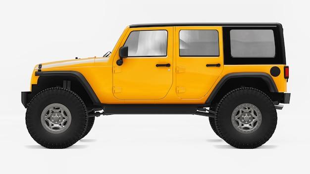 Krachtige geel getunede suv voor expedities in bergen, moerassen, woestijn en elk ruw terrein. grote wielen, liftophanging voor steile obstakels. 3d-rendering.