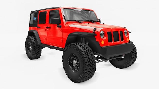 Krachtige rood afgestelde suv voor expedities in bergen, moerassen, woestijn en elk ruig terrein. grote wielen, liftophanging voor steile obstakels