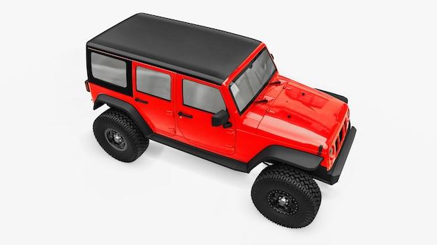 Krachtige rood getunede suv. grote wielen, liftophanging voor steile obstakels. 3d-rendering.