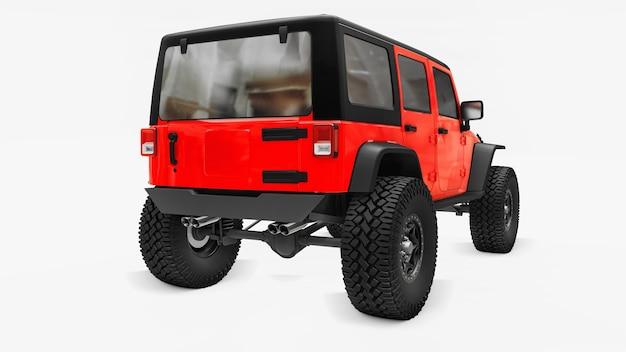 Krachtige rood getunede suv voor expedities in bergen, moerassen, woestijn en elk ruw terrein. grote wielen, liftophanging voor steile obstakels. 3d-rendering.