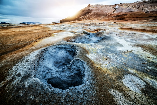 Krafla geothermisch van hverir, namafjall in ijsland