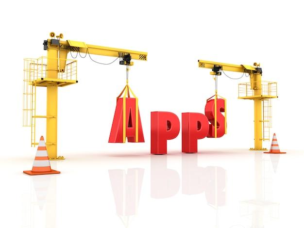 Kranen die het apps-woord bouwen