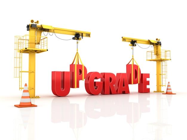 Kranen die het upgrade-woord bouwen