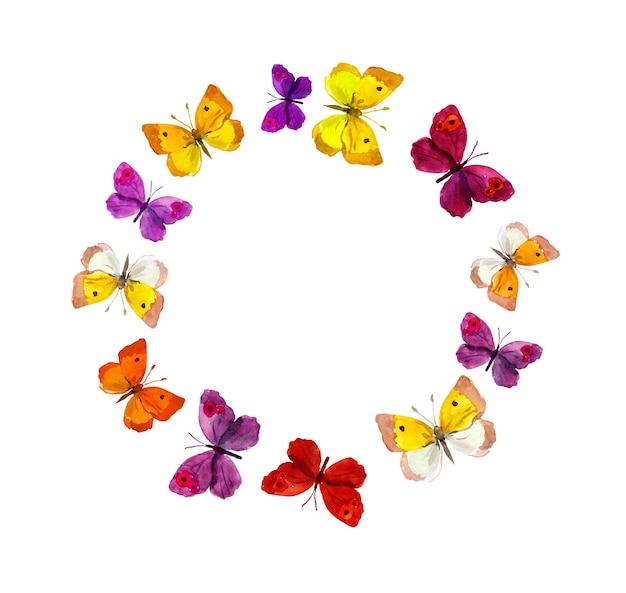 Krans grenskader met vlinders. waterverf