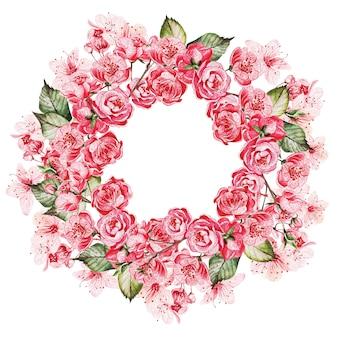 Krans met de kersenbloesems
