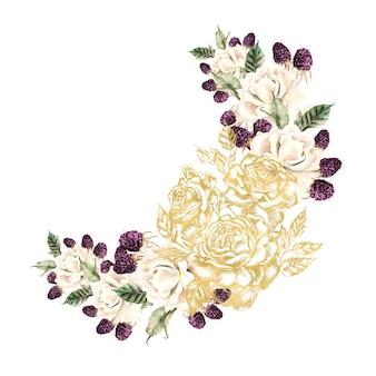 Krans met grafische en aquarel bloemen en bessen. illustratie