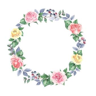 Krans van gele rozen en bladeren voor huwelijksuitnodigingen
