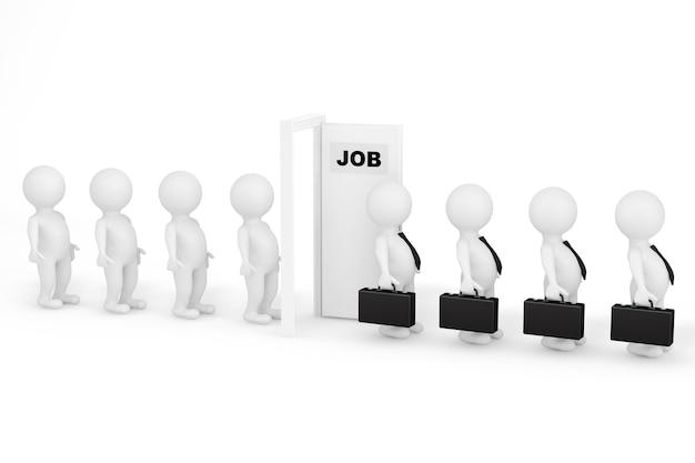 Krijg een job-concept. 3d-mensen in de rij wachten op een baan op een witte achtergrond
