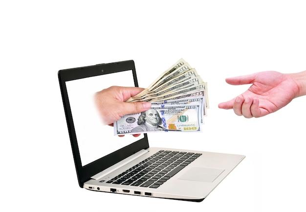 Krijg geld van een online bedrijf met amerikaanse dollar in de hand