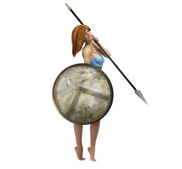 Krijger vrouw karakter, 3d illustratie, schets