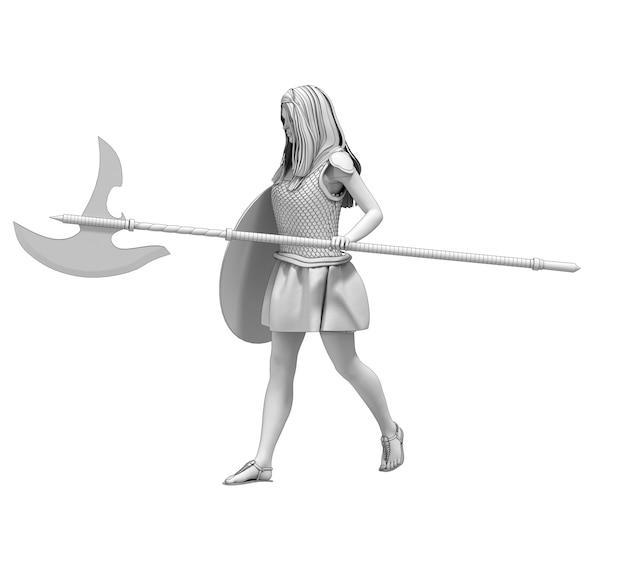 Krijger vrouw karakter 3d-rendering illustratie