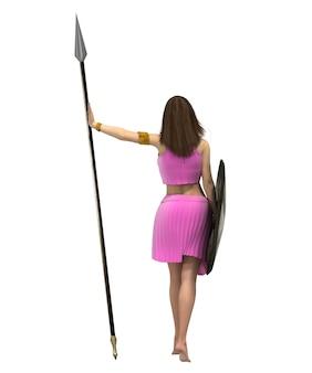 Krijger vrouw karakter 3d-rendering