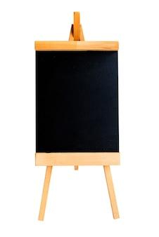 Krijtbord of schoolbord op houten standaard.