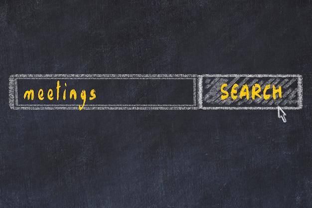 Krijtbordtekening van zoekbrowservenster en inscriptiebijeenkomsten
