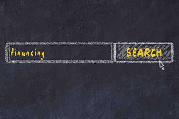 Krijtbordtekening van zoekbrowservenster en inscriptiefinanciering