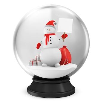 Kristallen bol met sneeuwpop en verschillende kerstaccessoires