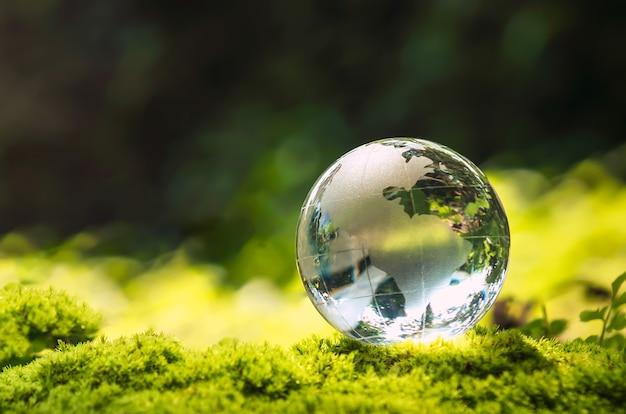 Kristallen bolglas rustend op mossteen met zonneschijn in de natuur. eco milieu concept