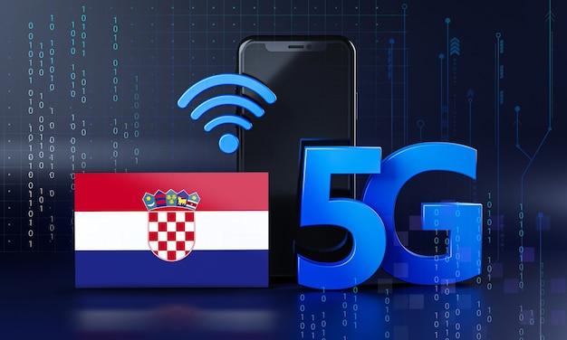 Kroatië klaar voor 5g-verbindingsconcept. 3d-rendering smartphone technische achtergrond