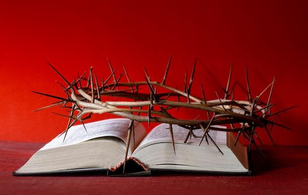 Kroondoornen en oude bijbel of boek op de rode achtergrond, kopieer ruimte.