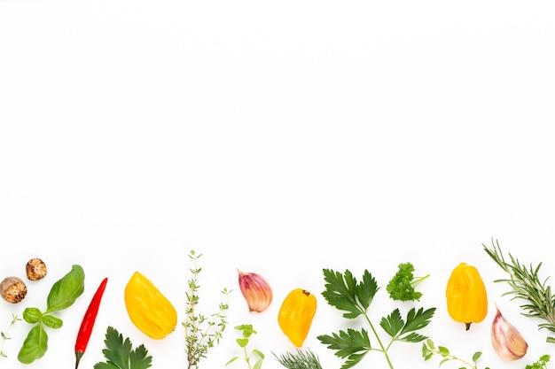 Kruid kruidenblaadjes en chilipeper. groenten. bloemen en groenten. bovenaanzicht, plat gelegd.