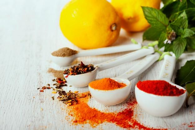Kruiden en specerijen selectie, close-up