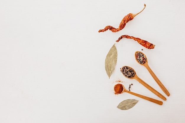 Kruiden in een houten lepel. kruiden, kerrie, saffraan, kurkuma, kaneel, laurier, paprika voor het koken op een witte achtergrond