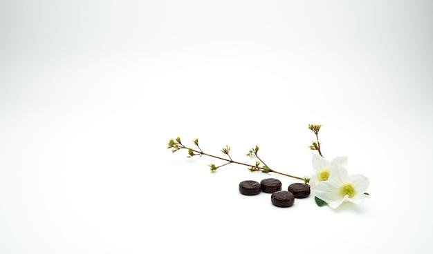 Kruidengeneeskunde zuigtabletten voor hulphoest zetten in de buurt van witte bloem en tak op witte achtergrond met kopie ruimte.