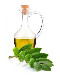 Kruik olijfolie en tak van laurierblad geïsoleerd