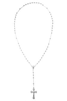Kruis rozenkrans christelijke hanger zilver goud pendnt fragment ketting schakelketting geïsoleerd